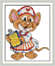 The sport mouse (3) – nurse cross stitch kit 14ct 11ct count print canvas stitches embroidery DIY handmade needlework plus