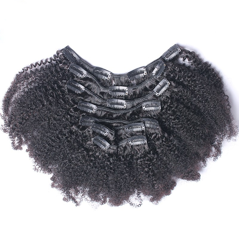 DLME Double Weft Afro Kinky Curly Clip In Hair Extensions Nautral Color Full Head 7Pcs High