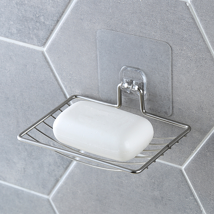 Silver Bathroom Vacuum Paste Soap Holder Cup Box Dish Soap Storage Saver Shower Tray Bathroom Accessories