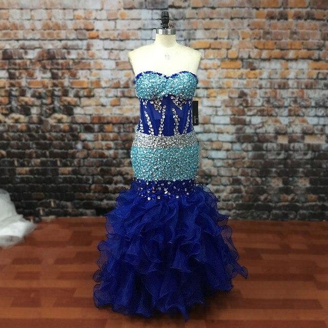 5257a4804a LORIE Modest Prom Dress Beaded Crystals Mermaid Royal Blue African Evening  Dresses Organza Transparent Long Graduation dresses