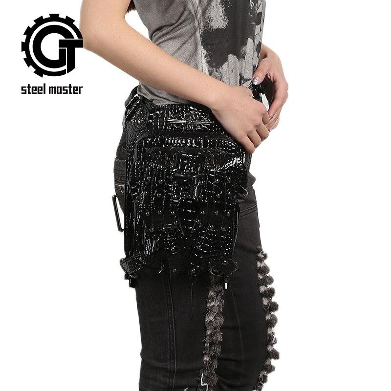 Fashion Gothic Patent Leather Waist Bag Steampunk Retro Rock Rivets Bag Women Black Bright PU Bags Men Motorcycle Leg Bag