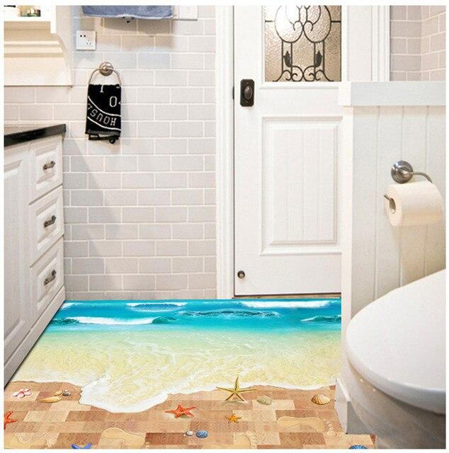 3d strand badkamer keuken muur floor sticker interieur slaapkamer voor kinderen muur poster diy behang woondecoratie