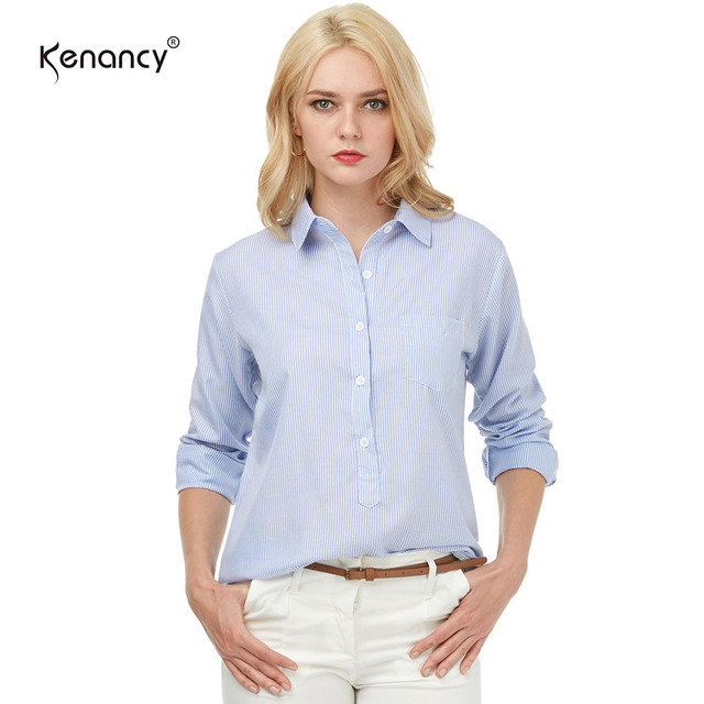 242d84a29f6581 Kenancy 2017 Office Women Casual Work Shirt Blouses Fashion Blue Pinstripe Long  Sleeve Turn-Down Collar Shirt Tops Blous