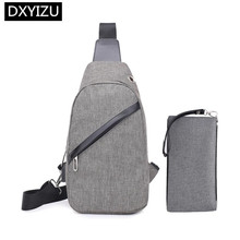 DINGXINYIZU waterproof small cross body bags for men sling one shoulder chest bag set portable long wallet male  thin purse