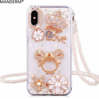 luxury diamonds phone cases for Iphone X fashion rhinestone stand holder back cover for iphone X soft silicon mobile phone cases