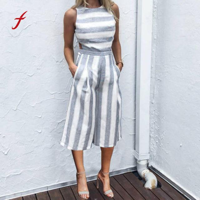 75c38d30106 Feitong Summer Two Piece Set Women Crop Top Sleeveless Striped Jumpsuit  Casual Clubwear Wide Leg Pants Outfit Women Clothing