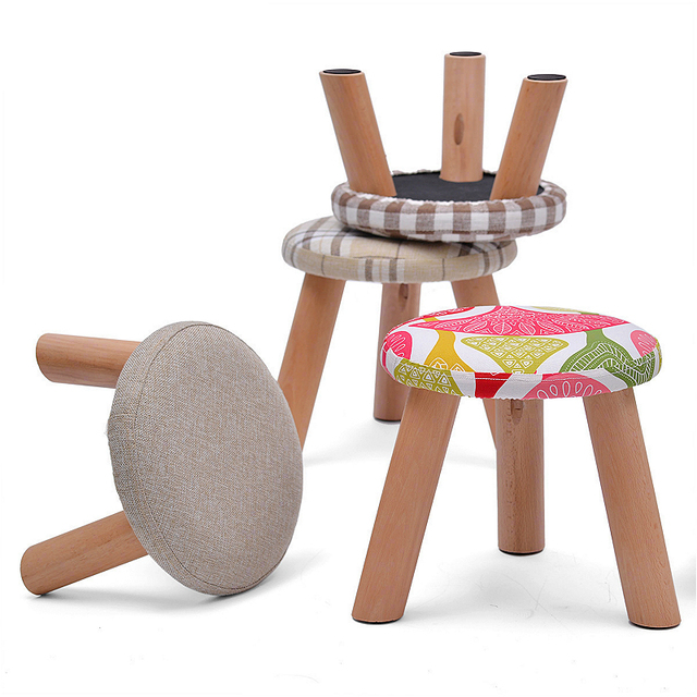 Light Portable Household Solid Wood Change Shoe Bench Multifunction Cloth  Seat Round Stool Sofa Footrest Leisure
