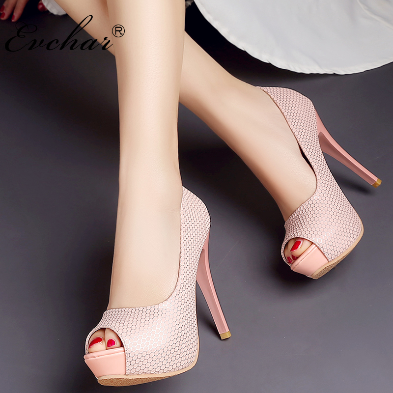 EVCHAR New Fashion Women Pumps Sexy Peep Toe Thin super High Heels party night club Shoes Woman fish mouth Pumps Plus size 32-43 yeelves new women fashion thin high heels pumps yellow or black heels court shoes pumps for ladies girl party plus size bowtie