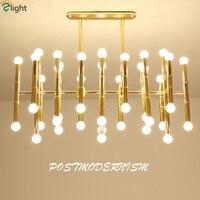 Delightfull Lâmpada Suspensão Post Modern Retangular Placa do Cromo do Ouro Levou Lustre De Bambu Tubo em Forma De Candelabro de Suspensão