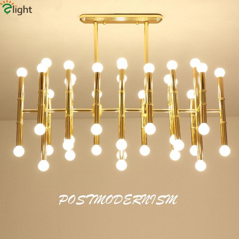Delightfull Rettangolare Lampada A Sospensione Della Moderna Piastra Cromo Oro Lampadario A Led Forma Di Bambù Tubo Lampadario Appeso