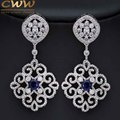 Vintage Platinum Plated Mixed Green Red Dark Blue Cubic Zirconia Crystal Big Long Luxury Earrings For Women CZ236