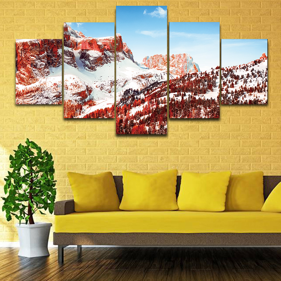 5 pieces HD prints paintings living room modern art canvas poster mountains mangrove forest wall decor modular murals pictures in Painting Calligraphy from Home Garden