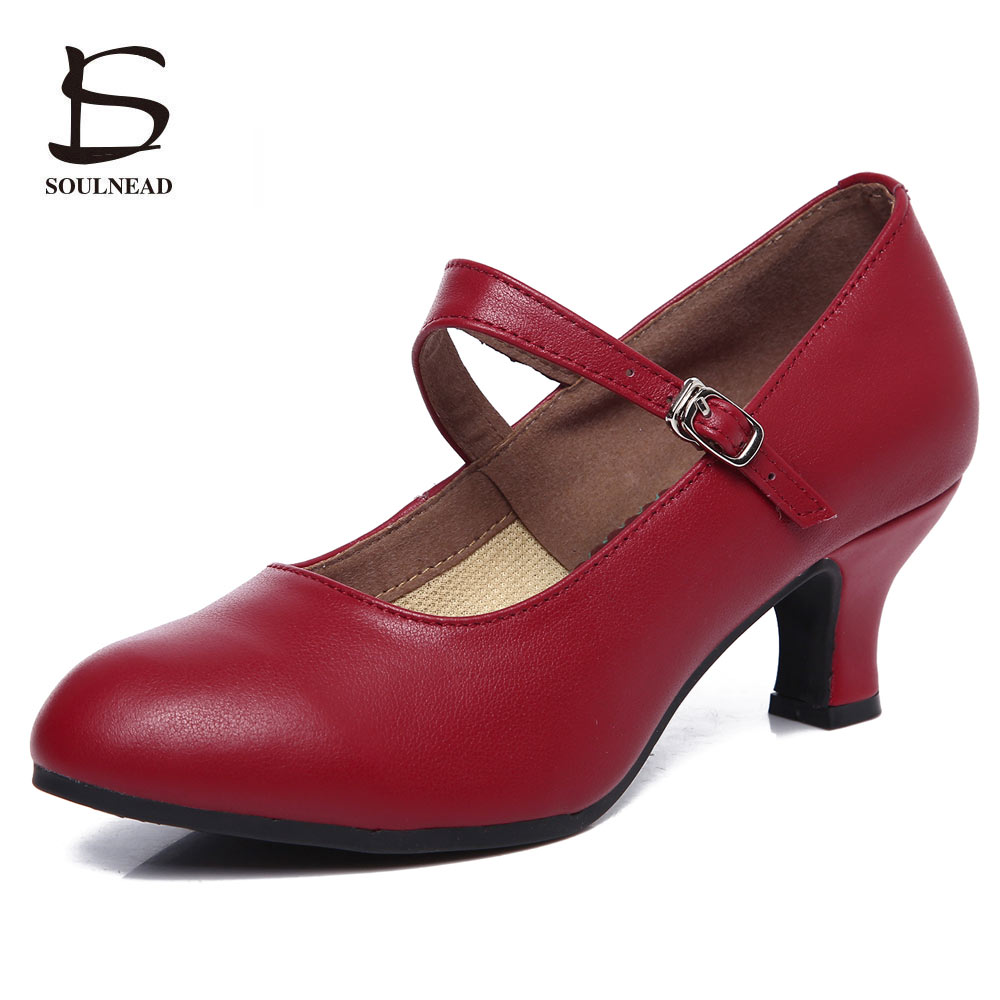 Genuine Leather Women Latin Dance Shoes Black Red Salsa Shoes High Heels 5.5cm Soft Bottom Tango Modern Party Dancing Shoes