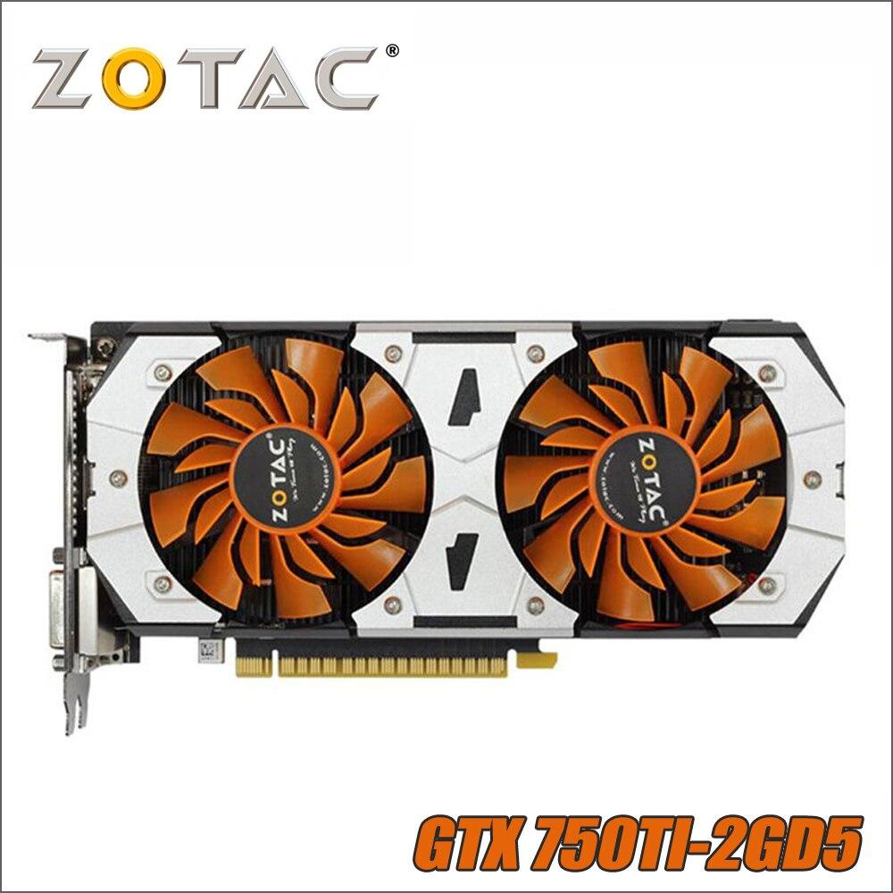 Original ZOTAC GPU tarjeta de Video GTX 750Ti 2 GB 128Bit GDDR5 tarjetas gráficas mapa para nVIDIA GeForce GTX750 Ti 2GD5 GTX 750 1050