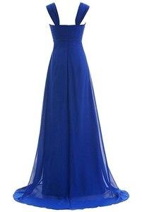 Image 3 - Angelsbridep Blauw Vestido Longo Avondjurk Cap Schouder Kralen Volledige Lengte Party Gown Speciale Gelegenheid Pageant Gown Hot