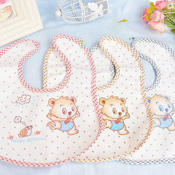 5PCS 25*21CM Cartoon Red Bear Newborn Baby Bibs Waterproof Adjustable Cotton Feeding Baby Saliva Towel For 0-24 Months