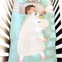 Cute Unicorn Blankets Infant Kids Unicorn Soft Warm Wool Swaddle Kids Bath Towel Lovely Newborn Baby