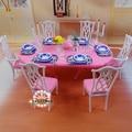 Для барби келли кена синий и белый обеденный стол комплект / кукольный домик мебель для столовой тарелка стул аксессуары девушки подарков