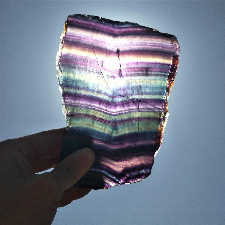 Большой красочный флюорит пластина красивый флюорит ломтик образец натуральные камни и минералы Кристалл флюорит в подарок многоцветный
