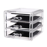 Cosmetic Organizer Storage Box Transparent Acrylic Makeup 3 Drawers Lipstick Holder Jewelry Storage Box Case Drawers