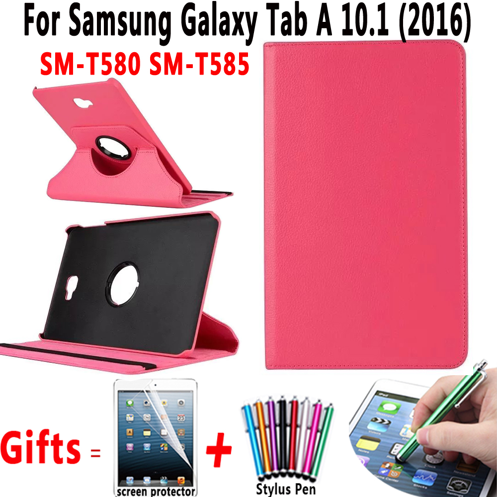 360 Degree Rotating PU Leather Cover for Samsung Galaxy Tab A 10.1 2016 T580 T585 SM-T580 SM-T585 Case with Screen Protector