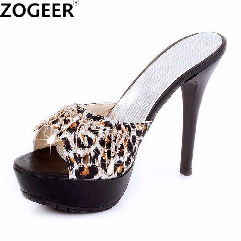 8fad9012a7 Summer High Heels Women Slipper Sexy Fashion Leopard Luxury Rhinestone Women  Sandals Casual Platform Flip Flops