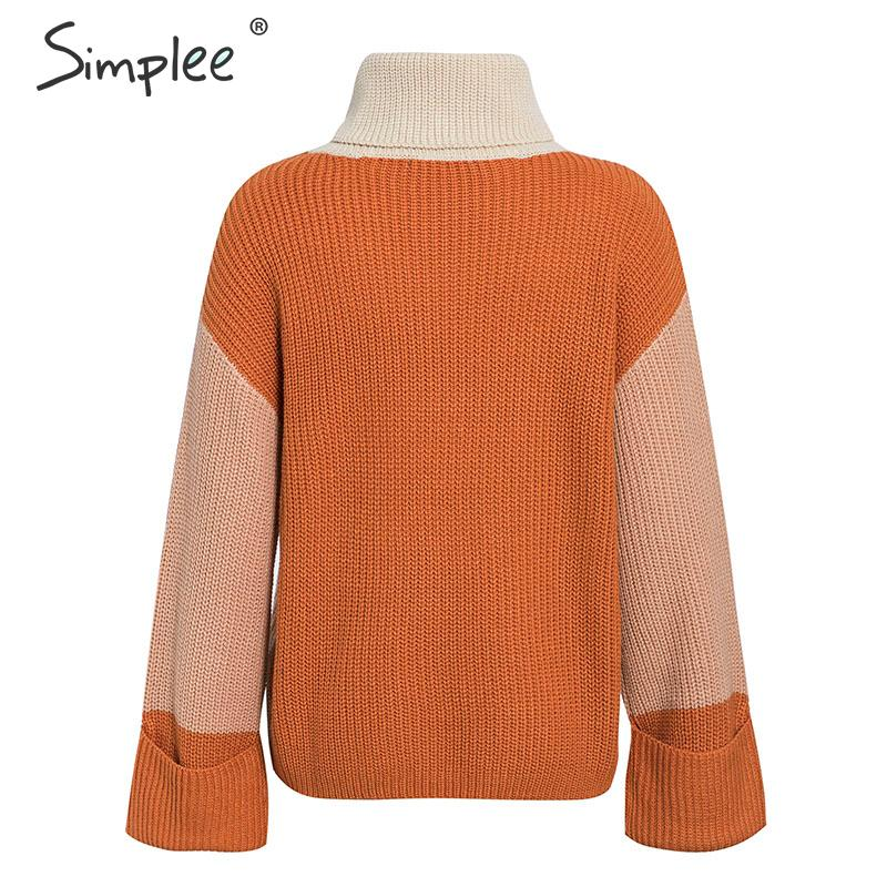 Simplee Patchwork turtleneck knitted sweaters female Casual long sleeve korean pullover jumper Women streetwear ladies sweater 14