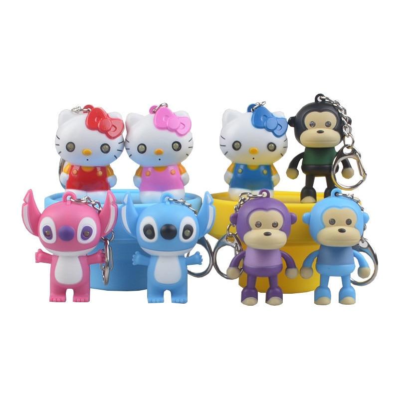"""Christmas Gift keychain Lilo Stitch Hello Kitty Monkey models Led Key Ring toys eyes light Sound say """"I LOVE YOU"""" kid gift"""