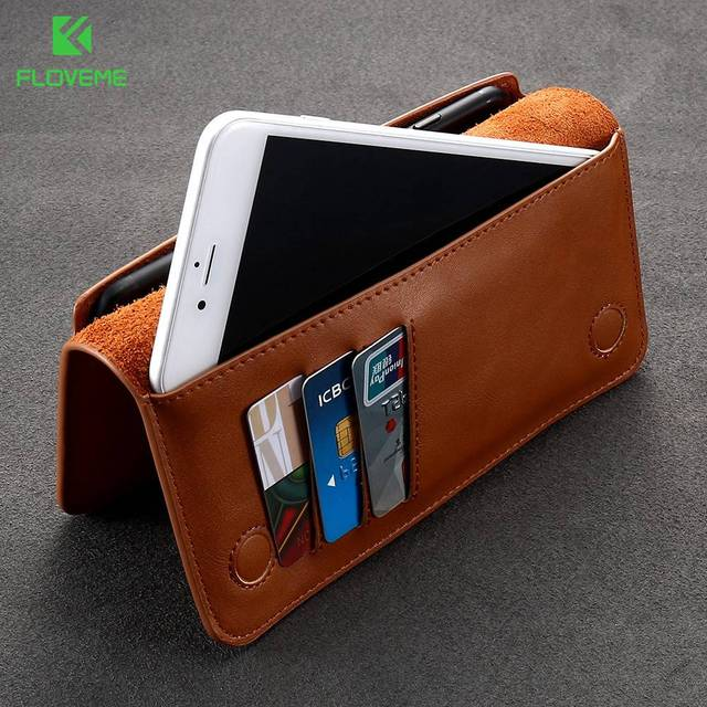 FLOVEME Universal Genuine Leather Wallet Case For iPhone X 8 7 6 6S Plus For Samsung Galaxy Note 8 S8 S9 Plus S7 S6 Pouch Cases 2