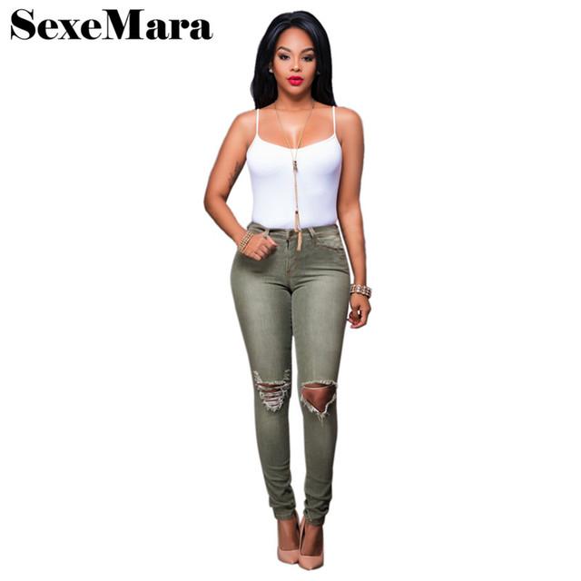 Moda de Cintura Alta Ripped Skinny Jeans e Top Colheita de Duas Peças Set 2017 Verão Mulheres Roupas Casuais Sensuais Calças Jeans Terno D39AE62