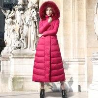 Space Cotton Long Coat Women Winter Red Parka Plus Size X Long Jacket Warm Fashion Outwear with Fur Cap SS6411