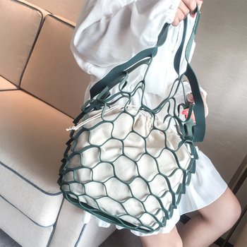 Hollow Out Mesh Design Women Handbag Canvas String Composite Bags Brand PU Leather Summer Beach Bags Holiday Women Tote 2018 New