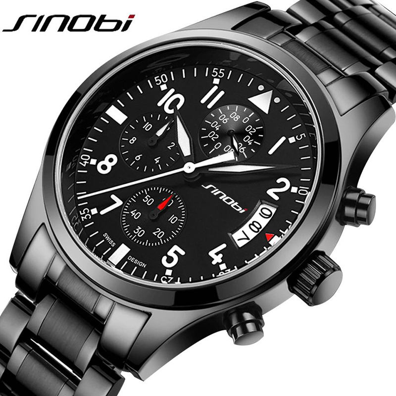 SINOBI Men Watch 100m Waterproof  Mens Watches Top Brand Luxury Steel Watch Chronograph Male Clock Saat relojes hombre 2017 philips наушники с микрофоном philips shm6500 10