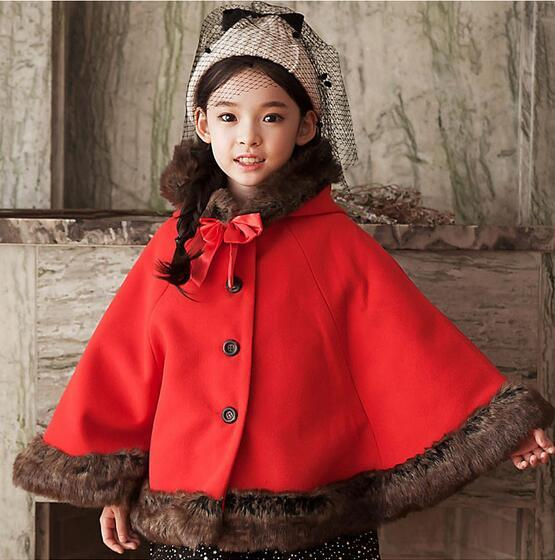 Retail Girls Outerwear Coats Children Fashion double-breasted Woolen Trench Kids Winter O-Neck Jacket Warm Cotton Clothes