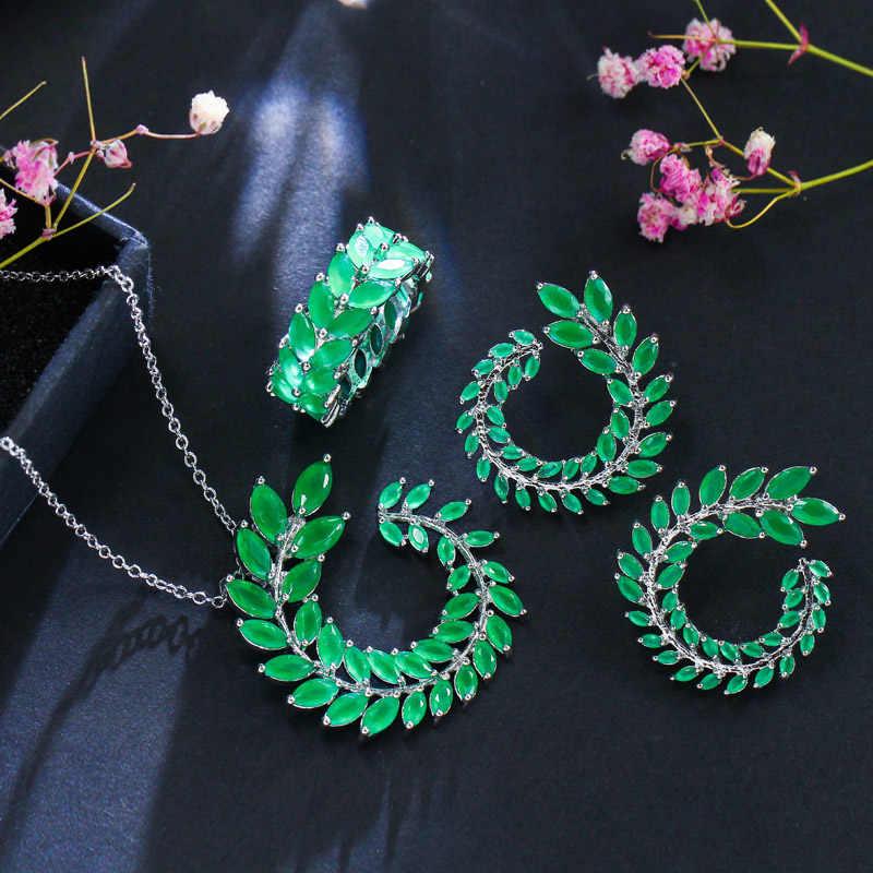 CWWZircons Classic Leaf สร้อยคอคริสตัลออสเตรียต่างหูชุดแหวนแฟชั่นผู้หญิงเครื่องประดับชุดหินสีเขียว T014