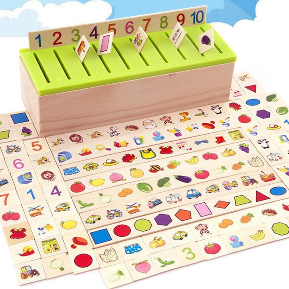 Montessori Knowledge Classification Box Kids Wooden Toys Bab