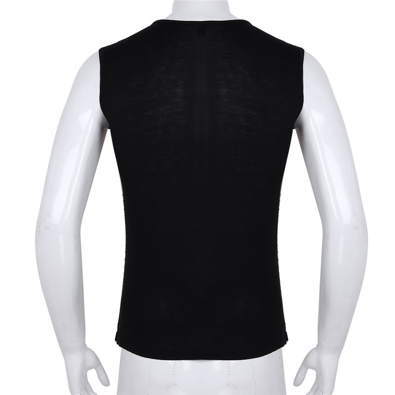 Image 2 - Yizyif 男性のスパンコールタンクトップ光沢のあるクロップトップベストクルーネックスリムベストセクシーな wetlook タンクトップクラブウェア tシャツマッスルタンベストトップタンクトップ   -