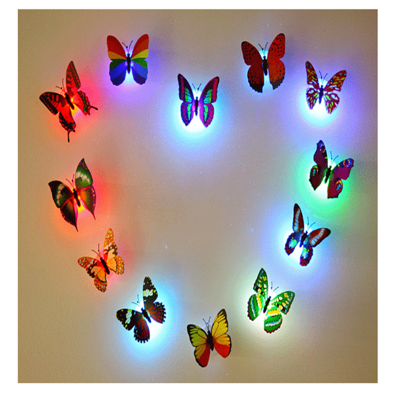 LED Night Light Flashing Colorful Butterfly Wall Suction Pad Lamp Light for Indoor Decoration