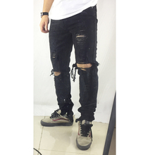 hot selling 2019 fashion mens jeans hole Full Length pants ankle zipper cool jogger damage Casual hip hop Hole Denim