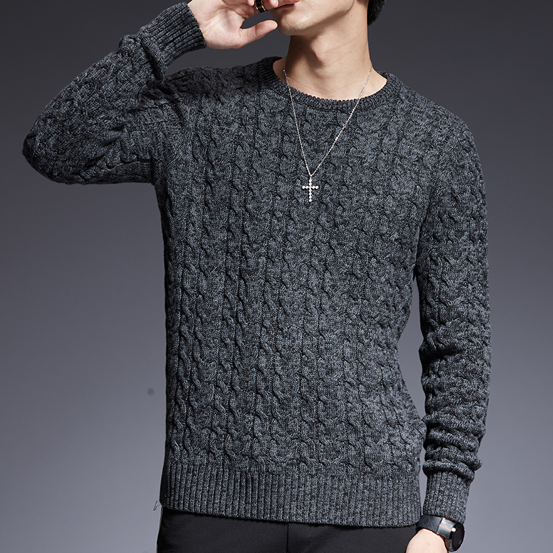 Sweaters Man Pullovers Jumpers Autumn Mens Knitwear Slim-Fit O-Neck Korean-Style Casual