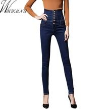 Wmwmnu Моды высокой талией джинсы женские джинсовые карандаш palazzo брюки женщины узкие джинсы плюс размер 6XL брюки женщины ls258
