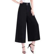Pants Women 2017 Summer Korean Casual High Waist Black Wide Leg Chiffon Solid Fashion Trousers Plus Size 5XL F211
