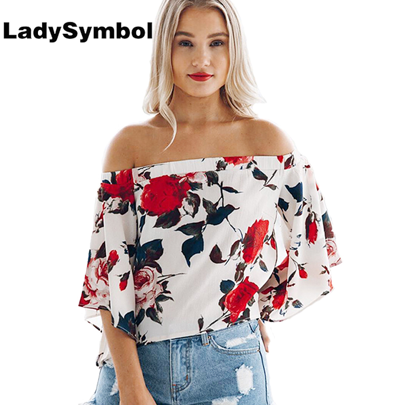Ladysymbol Floral Women Blouse Shirt 2017 Summer Tops Back