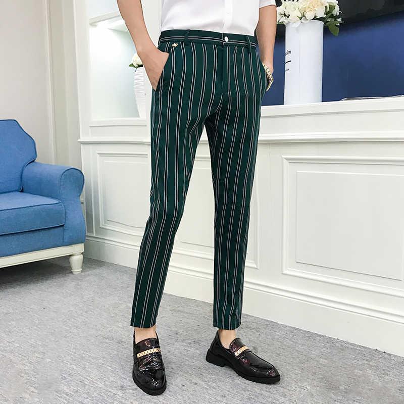 Pantalones De Vestir A Rayas Para Hombre Ropa De Calle A La Moda Color Negro Y Verde Estilo Cenido Otono 2019 Pantalones Informales Aliexpress