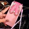 Strass orelhas de coelho suporte Design suave TPU Phone Cases para Huawei shell telefone P8 & P8 Lite Favorite Girl BSJK1286