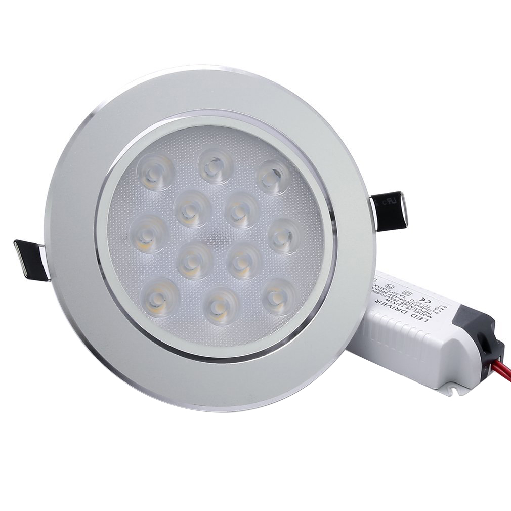 BIFI-Warm White LED Recessed Light Energy Saving Downlight Indoor Ceiling Lamp (Pack of 4, 12W, 3000K) 6pcs set with driver cable connector cree 3w mini led cabinet downlight led recessed cabinet spot light white warm white