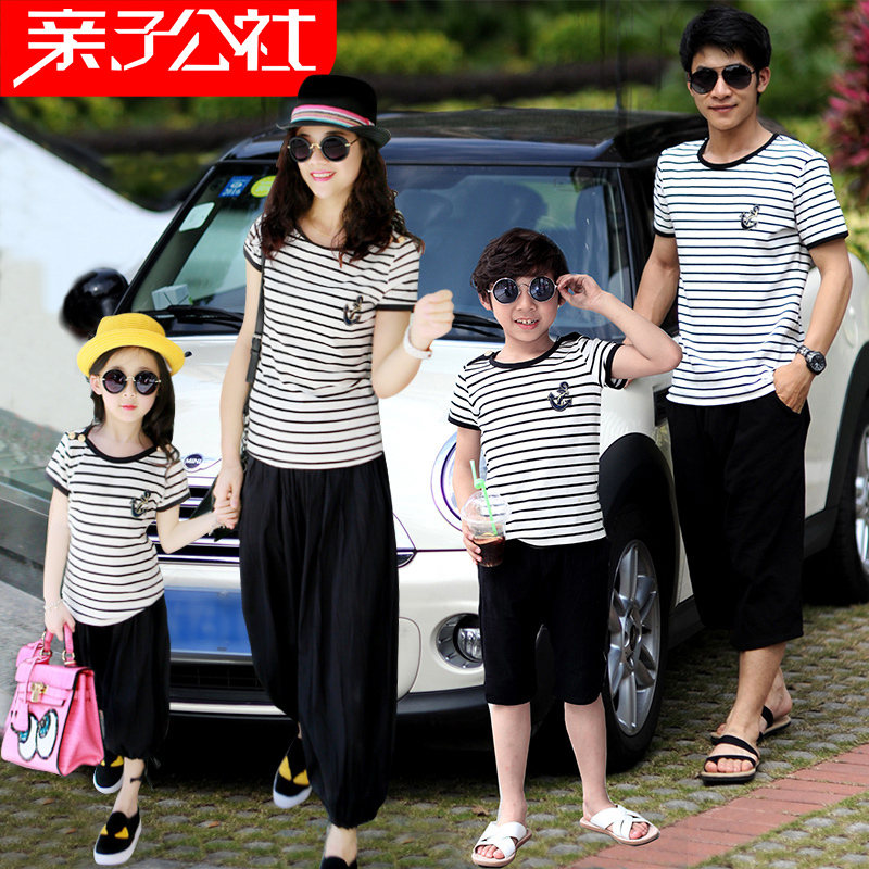 2015 Summer Family Clothing Sets Mother Father Child Matching Dad Mom Daughter Son T-shirt and Shorts Family Look Ma e Filha family fashion summer tops 2015 clothers short sleeve t shirt stripe navy style shirt clothes for mother dad and children