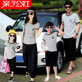 2015 Summer Family Clothing Sets Mother Father Child Matching Dad Mom Daughter Son T-shirt and Shorts Family Look Ma e Filha
