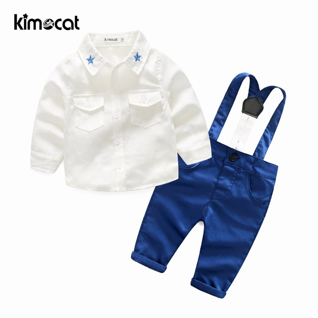 f723bd89c392 Kimocat Baby Boy Clothes 2pcs Shirt+Pants Solid Overalls Baby ...