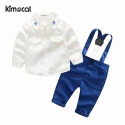 Kimocat Baby Boy Clothes 2pcs Shirt+Pants Solid Overalls Baby Clothing Set Newborn Gentleman Infant Wedding Clothes Suit